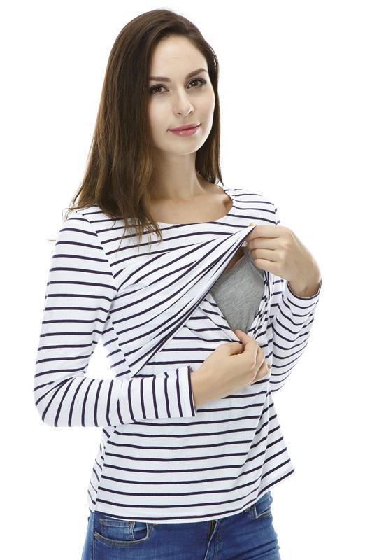 c0b9d8679 Blusa para Lactancia Blanca c Rayas - La tiendita de Conita